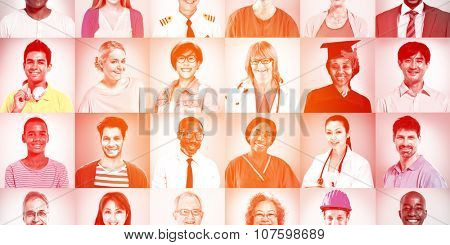 Portraits of Multiethnic Mixed Occupations People Concept