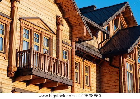 Luxury House With Log Close Up