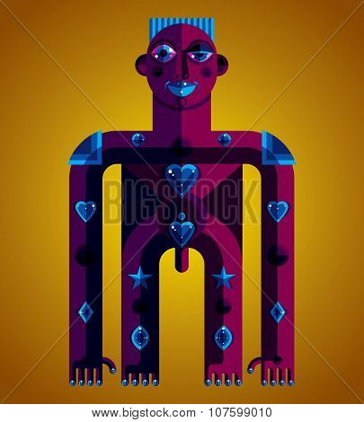 Pagan Symbol Vector Illustration, Spiritual Cult Theme. Modernistic Drawing Of A Weird Character.