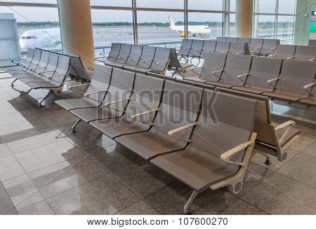 Row Of Chairs In Barcelona Airport