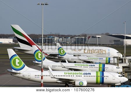 Parking transavia airplanes.