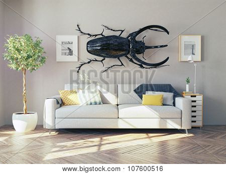 the rhino beetle in the living room as a decor. 3d concept