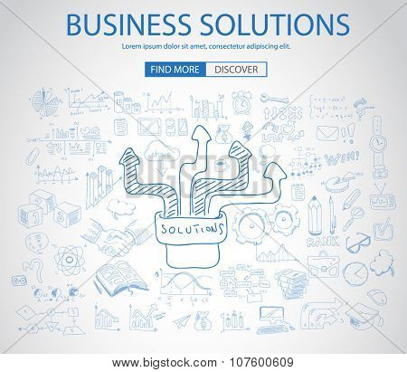 Business Solutions Concept with Doodle design style :finding solution, brainstorming, creative thinking. Modern style illustration for web banners, brochure and flyers.