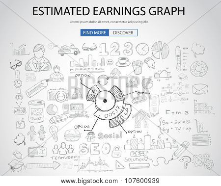Estimate Earnings concept with Doodle design style :teaching solution, studies, creative ideas. Modern style illustration for web banners, brochure and flyers.