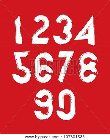 Handwritten White Vector Numbers Isolated On Red Background, Painted Modern Numbers Set.
