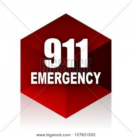 number emergency 911 red cube 3d modern design icon on white background