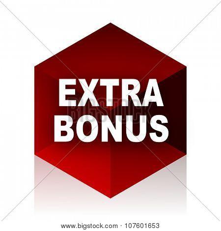 extra bonus red cube 3d modern design icon on white background