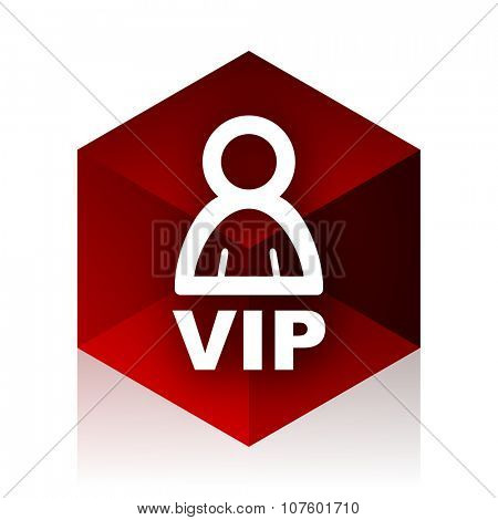 vip red cube 3d modern design icon on white background