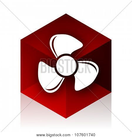 fan red cube 3d modern design icon on white background