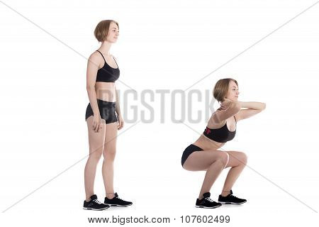 Sporty Woman Doing Squat