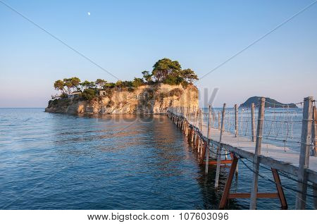 Bridge To Cameo Island At Sunset, Zakynthos, Greece