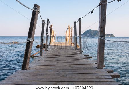 Wooden Jetty On Cameo Island, Zakynthos