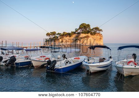 Boats At Cameo Island, Zakynthos, Greece
