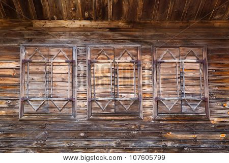 Old Wooden Windows With Closed Shutters