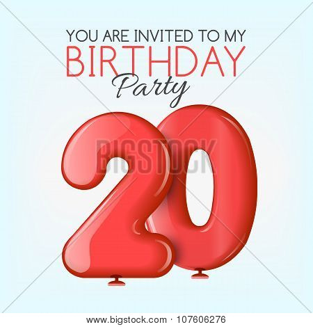 Invitation card for the celebration of 20 years