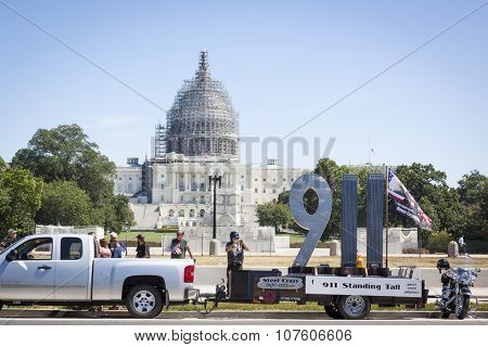 WASHINGTON DC - SEPT 11, 2015: The mobile 911 Standing Tall Memorial sculpture made of steel created by SteelCrazy IronArt in front of the U.S. Capitol at the annual 2 Million Bikers to DC honor ride.