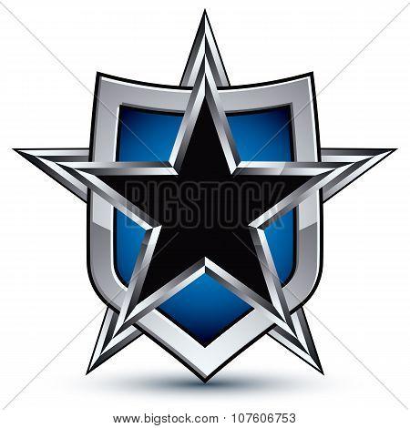Celebrative Vector Emblem With Silver Outline And Black Pentagonal Star, 3D Royal Conceptual Design
