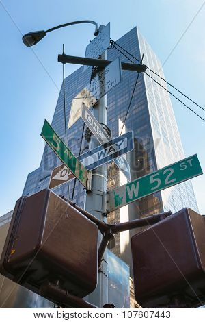 New York City, Street Sign Post.