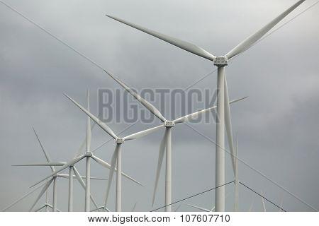 Many modern wind turbines spinning