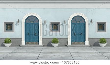 Blue Old Facade