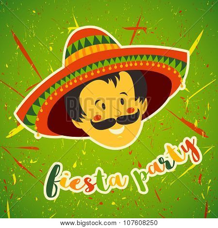 Mexican Fiesta Party Invitation with Mexican man with mustache and in sombrero. Hand drawn vector il