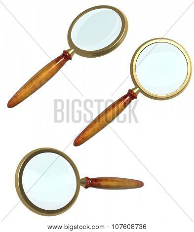 Collection of 3d loupe. Object isolated on white background. Can be used for web design