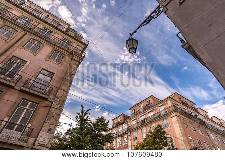 Lisbon, Portugal, Europe - Up view of a downtown ancient street