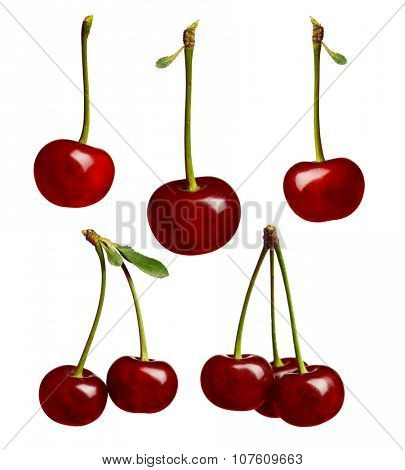 Set of sweet ripe cherry isolated on a white background