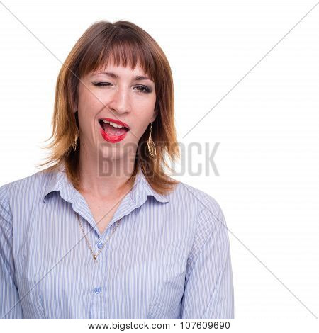 Closeup portrait of business woman winking, isolated on white with copyspace