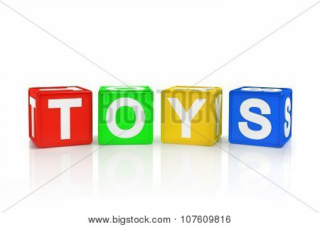 Blocks spelling toys on a white background