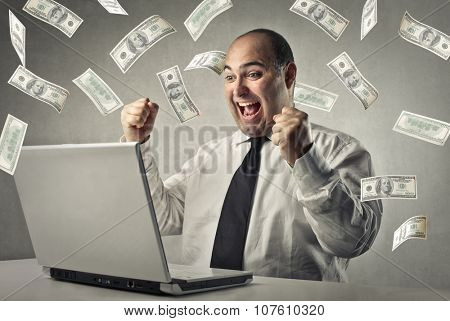 Rich businessman earning money
