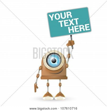 vector brown cartoon robot isolated on white