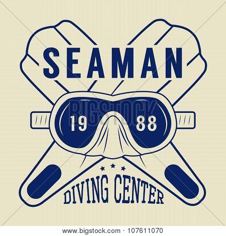 Diving Logo, Label In Vintage Style. Vector Illustration