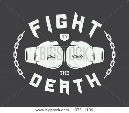 Vintage Boxing, Mixed Martial Arts Or Sport Logo, Emblem, Badge, Label And Watermark With Gloves.
