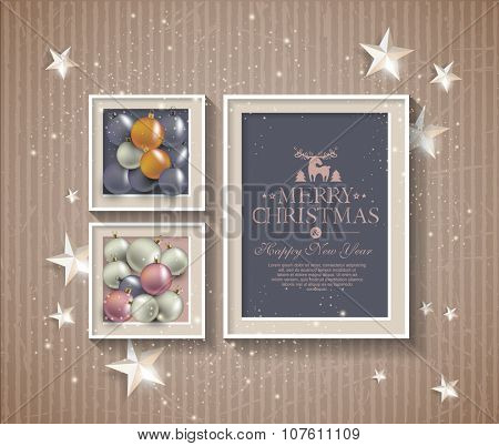 Background with stars and balls with frame