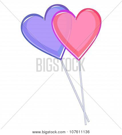 Two Love Lollipops Hearts Isolated On White