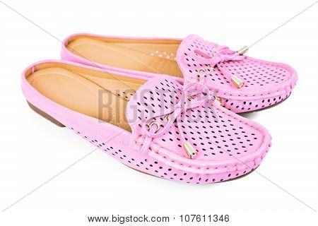 Women Pink Flats Slip-on Shoes With Small Ribbon , Isolated On White Background