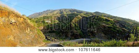Road Cross Dry River Bank