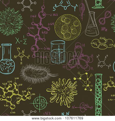 Science laboratory seamless pattern with microbes and viruses. Vintage design set. Hand drawn vector