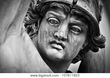Ancient head close-up sculpture of The Rape of Polyxena in Loggia dei Lanzi in Florence, Italy. Black and white,