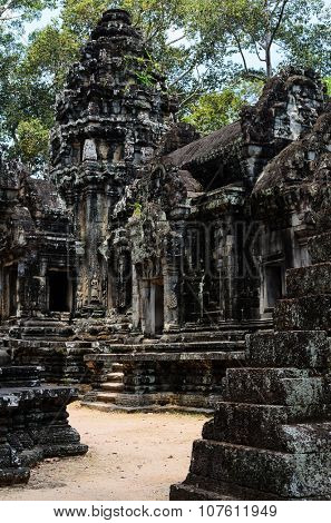 Thommanon, part of Khmer Angkor temple complex, popular among tourists ancient landmark and place of worship in Southeast Asia. Siem Reap, Cambodia.