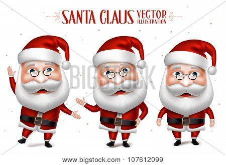Santa Claus Cartoon Character Set for Christmas