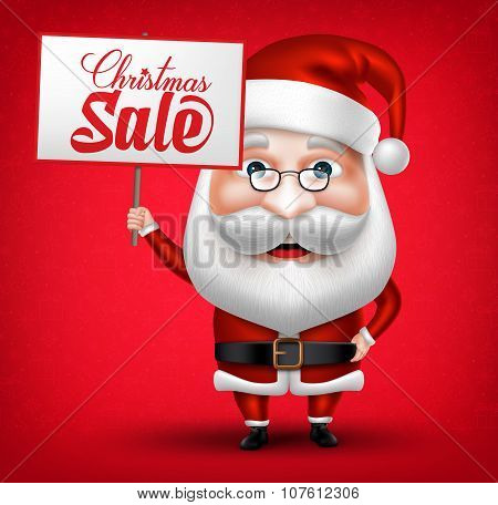 Santa Claus Cartoon Character Holding Christmas Sale Placard