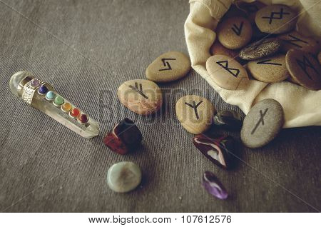 runes and tarot cards