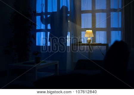 shadow  of burglar on the balcony door
