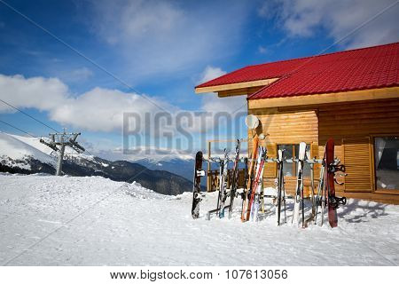 collection of skis ski resort, winter vacation