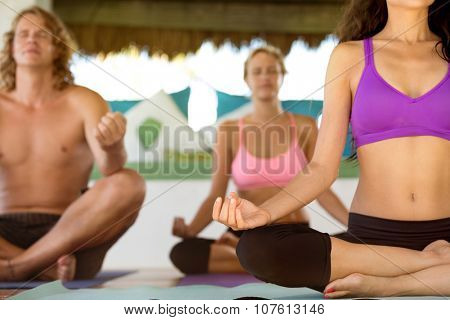meditating in a lotus yoga position outdoor