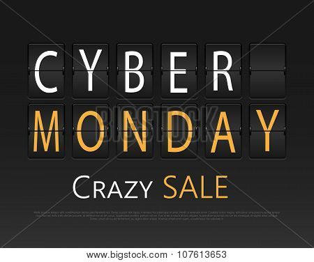 Cyber monday, mechanical panel letters.