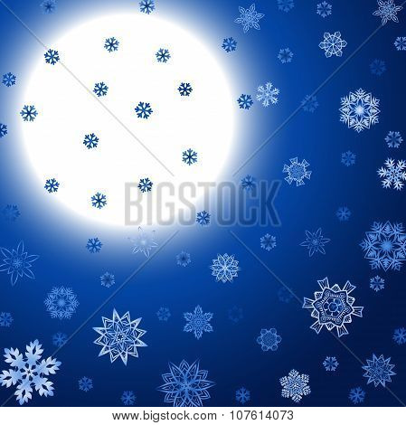 Winter blue square background with moon and snowflakes