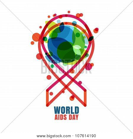 Vector Trendy Illustration Of Red Ribbon Aids Symbol And Green Globe.